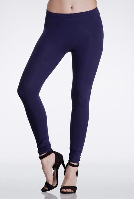 Femella Navy Skinny Fit Cotton Leggings