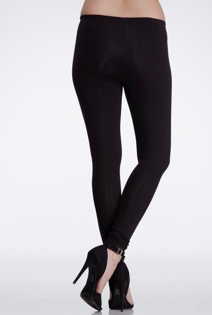 Femella Black Skinny Fit Cotton Leggings