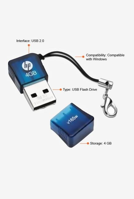 HP V165W 4 GB Pen Drive Blue