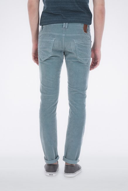 Basics Green Corduroy Casual Trouser