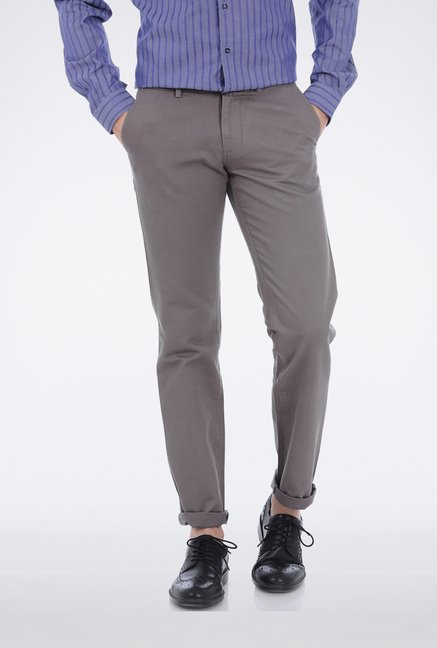 Basics Grey Dobby Weave Casual Trouser