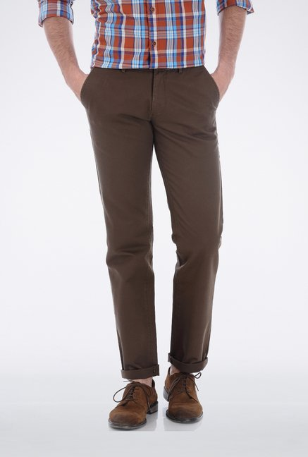 Basics Mid Brown Dobby Weave Casual Trouser
