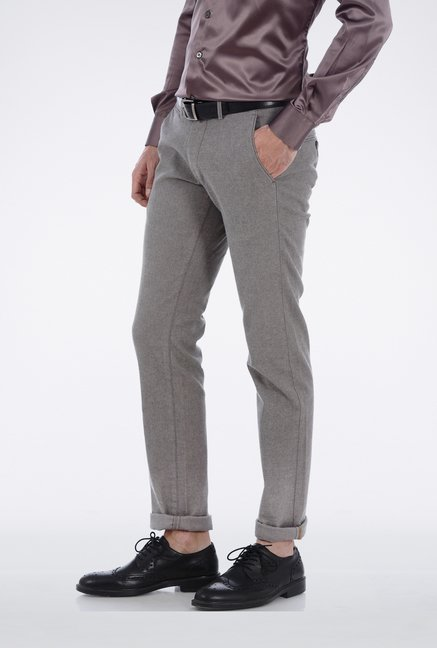 Basics Light Grey Slim Fit Casual Trouser