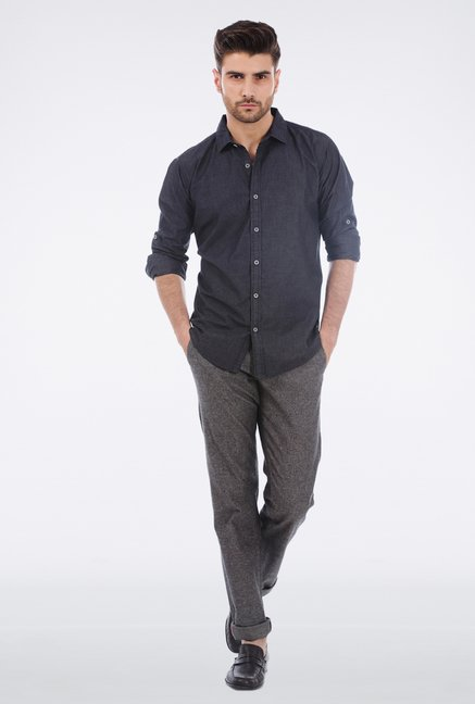 Basics Grey Slim Fit Casual Trouser