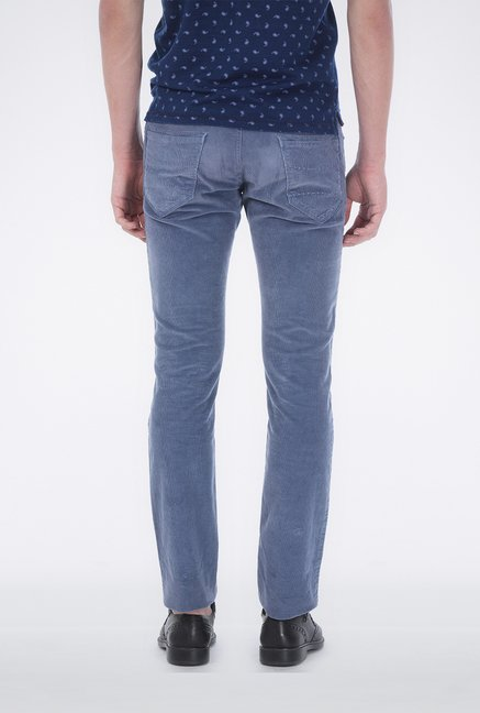 Basics Blue Corduroy Casual Trouser