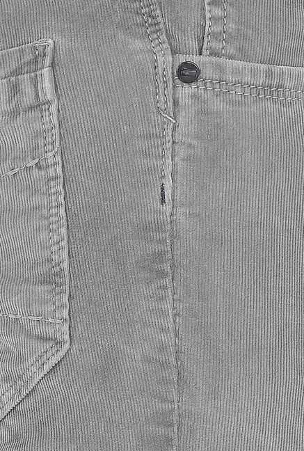 Basics Light Grey Corduroy Casual Trouser