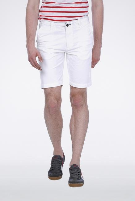 Basics White Knee Length Shorts
