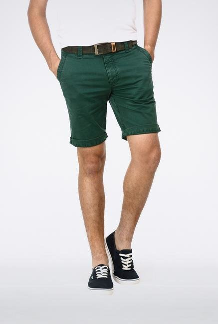 Basics Green Knee Length Shorts
