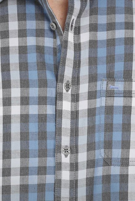 Basics Blue Checkered Grunge Shirt