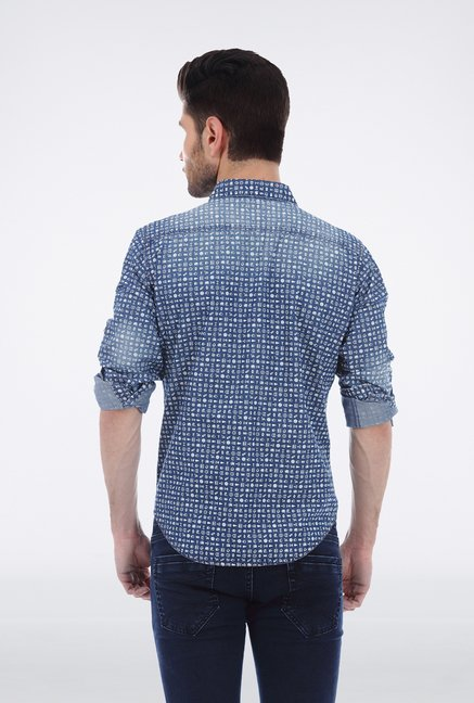 Basics Indigo Printed Shirt