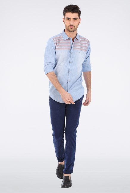 Basics Blue Embroidered Shirt