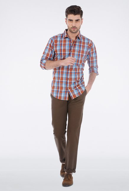 Basics Mid Brown Checkered Shirt