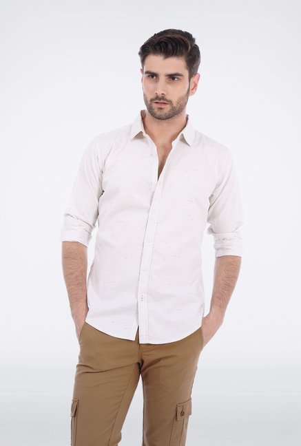 Basics White Twill Weave Shirt