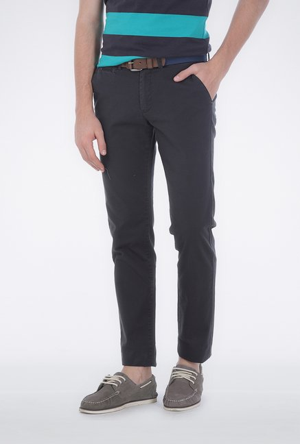 Basics Dark Grey Flat Front Trouser