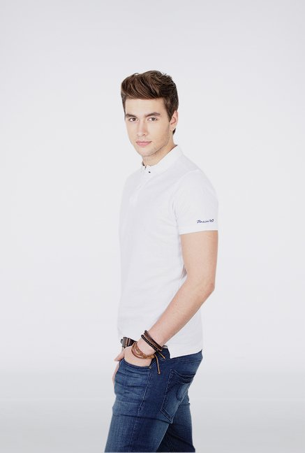 Basics White Polo T Shirt