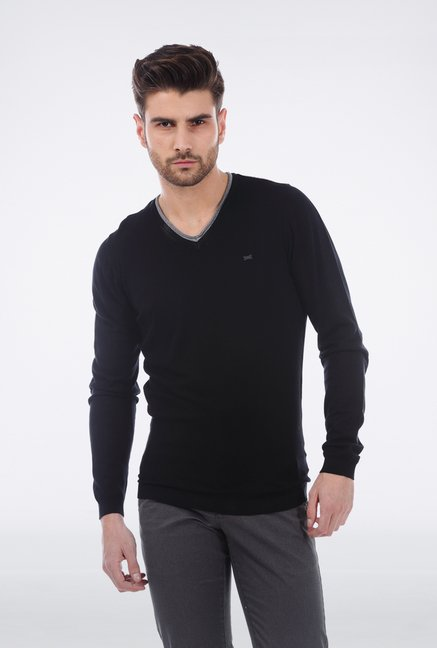 Basics Black V neck T Shirt