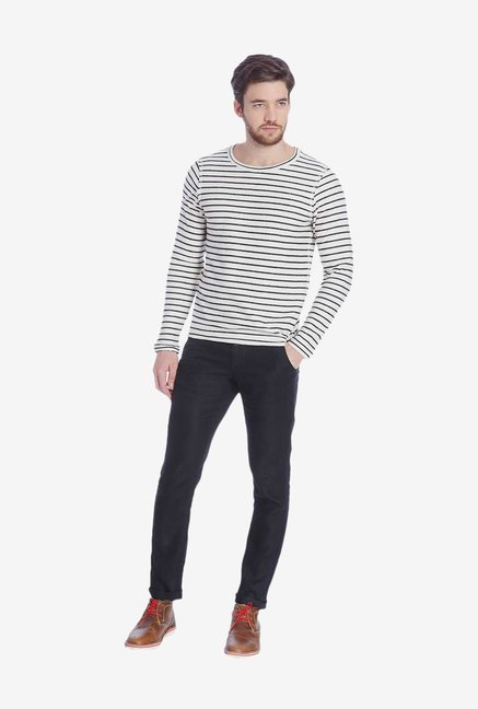 Jack & Jones White Striped T Shirt