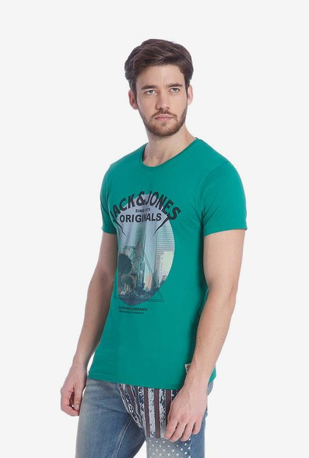 Jack & Jones Green Graphic T Shirt