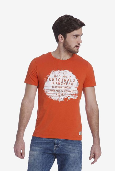 Jack & Jones Orange Graphic T Shirt