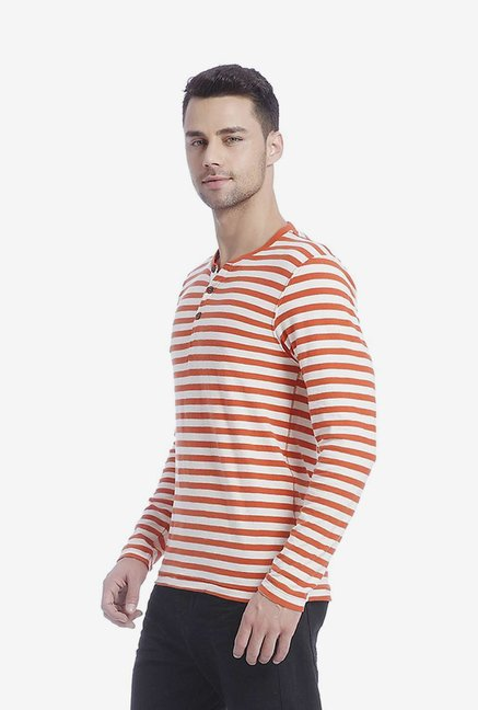 Jack & Jones Orange Striped T Shirt