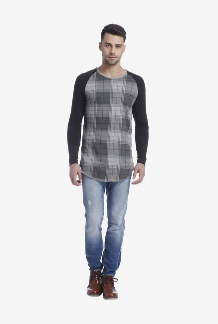 Jack & Jones Grey Checked T Shirt