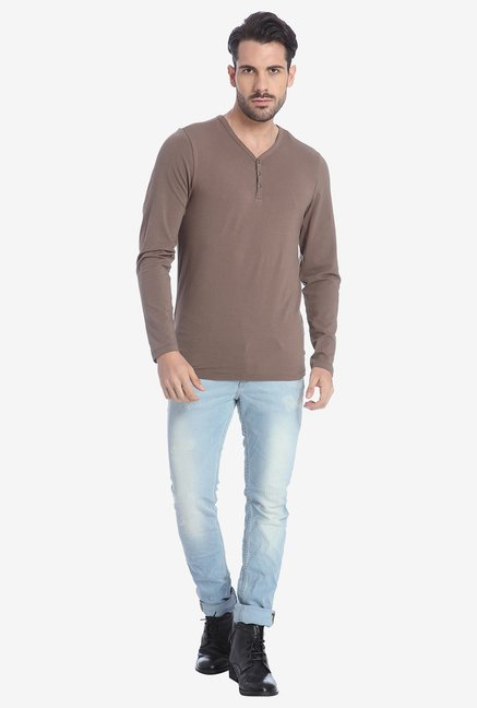 Jack & Jones Chocolate Henley T Shirt