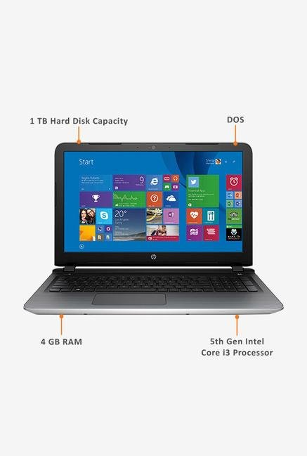HP 15-AC125TU 39.62cm Notebook (Intel i3, 1TB) Silver