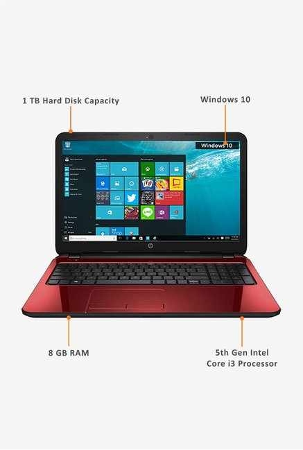 HP 15-AC155TX 39.62cm Notebook (Intel Core i3, 1TB) Red