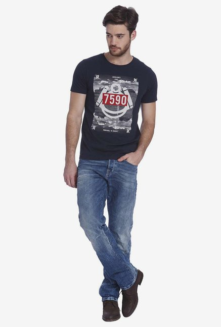 Jack & Jones Navy Graphic T Shirt
