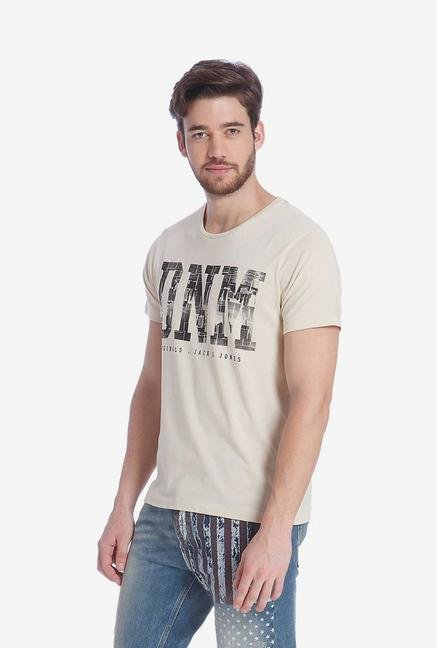Jack & Jones Beige Graphic T Shirt