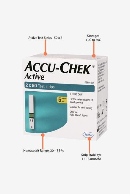 Accu Chek Active 100 Blood Test Strips White
