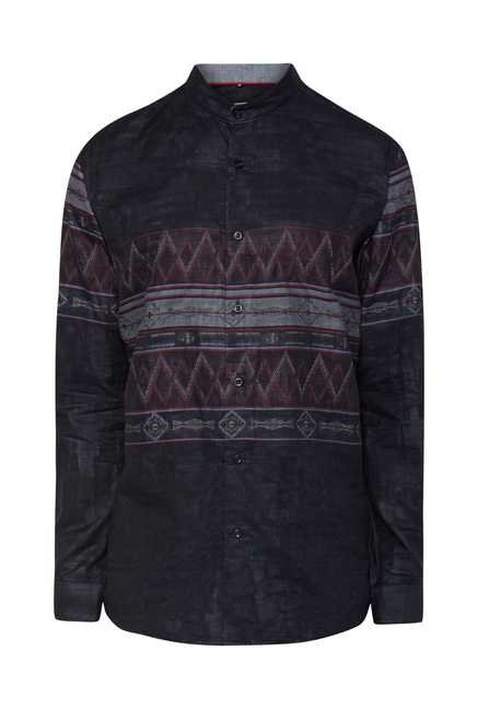 Lawman Grey Black Full Sleeve Casual Shirt