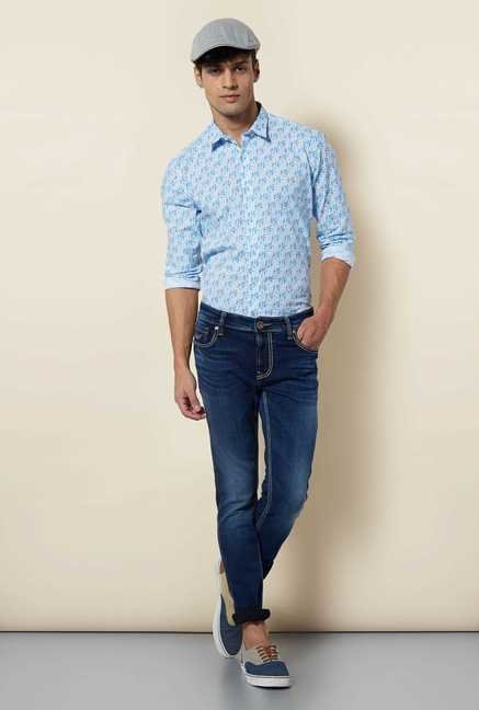Lawman Blue White Full Sleeve Casual Shirt