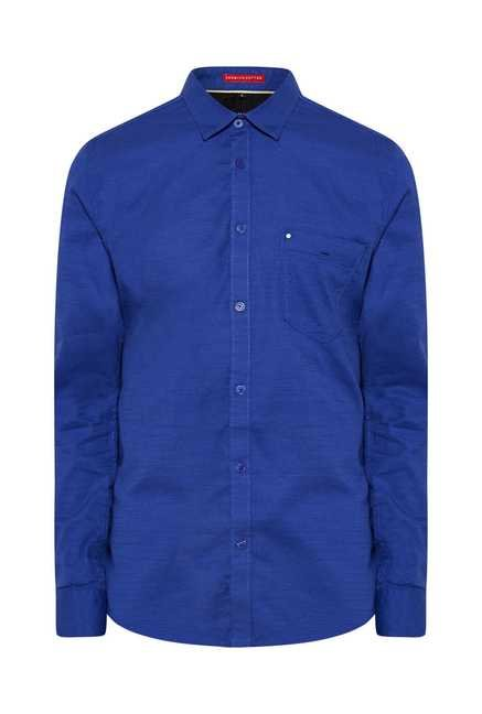 Lawman Royal Blue Full Sleeve Casual Shirt