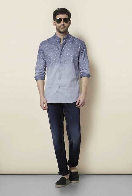 Lawman Metal Blue Full Sleeve Casual Shirt