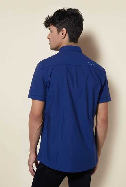 Lawman Royal Blue Short Sleeve Casual Shirt