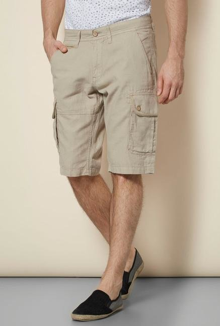 celio* Beige Cotton Shorts