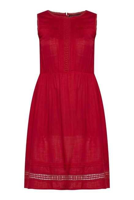 109 F Red Solid Casual Dress