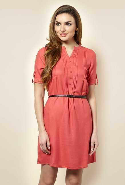 109 F Coral Solid Casual Dress