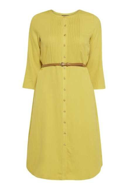 109 F Lime Solid Casual Dress