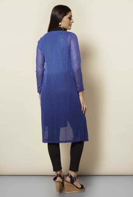 109 F Blue Crotchet Long Shrug