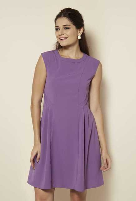 109 F Purple Solid Casual Dress