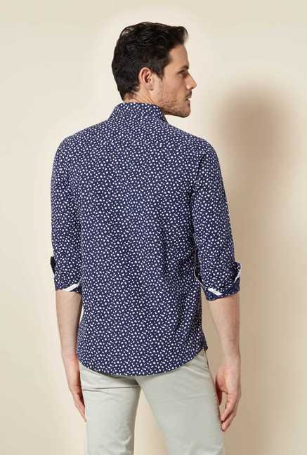 Easies Navy Printed Shirt