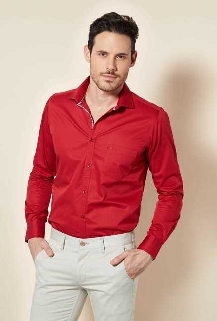 Easies Red Solid Shirt
