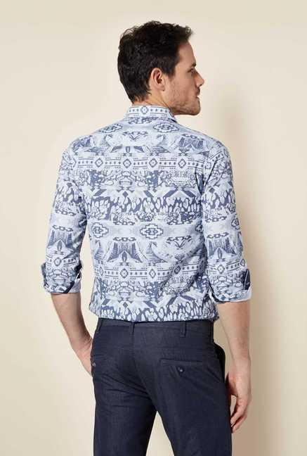 Easies Navy White Print Shirt