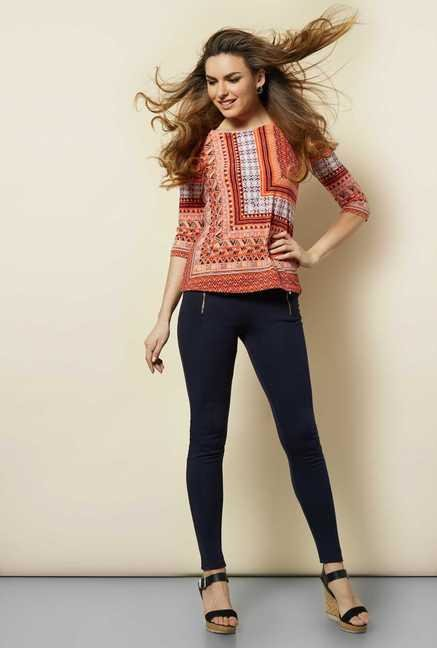 109 F Orange Aztec Blouse