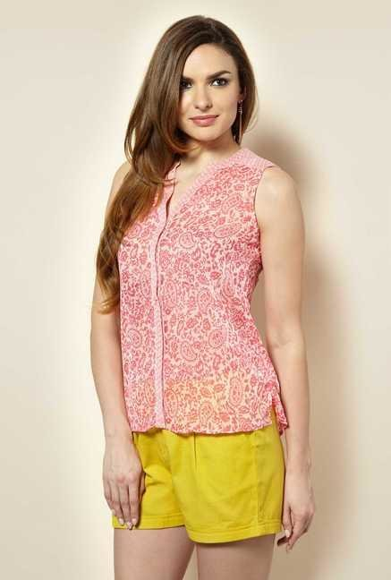 109 F Pink Printed Crepe Top