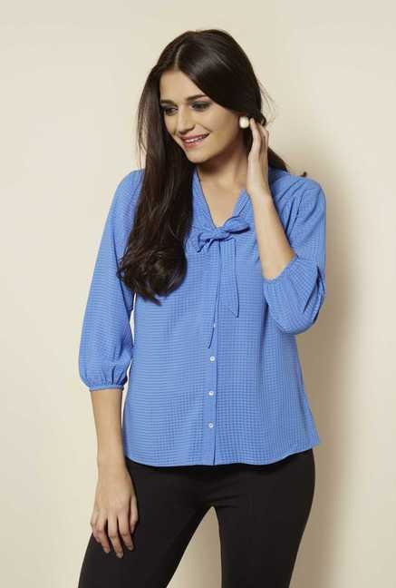 109 F Blue Checks Blouse