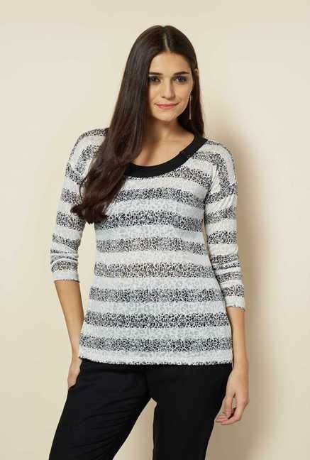 109 F White Striped Jersey Top