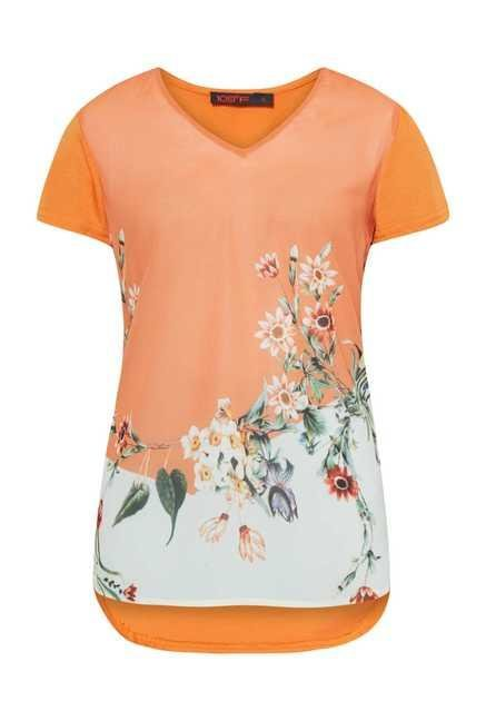109 F Orange Printed High Low Top